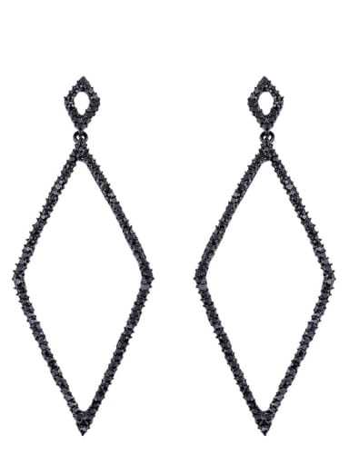 black Alloy Cubic Zirconia Geometric Vintage Drop Earring