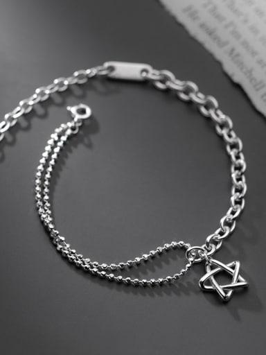 925 Sterling Silver Star Vintage Asymmetry Chain Link Bracelet