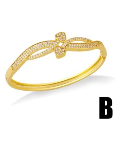 B Brass Cubic Zirconia Heart Dainty Band Bangle