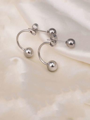 steel Titanium  Smooth Round Bead  Minimalist Stud Earring