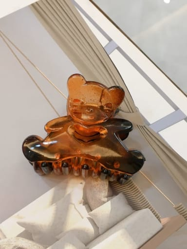 Bright Caramel Alloy Resin Cute Panda Jaw Hair Claw