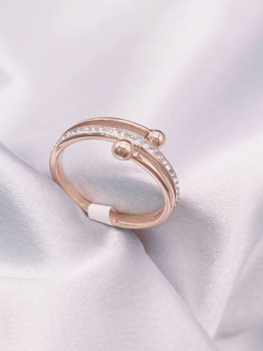 Titanium Steel Rhinestone Irregular Minimalist Band Ring