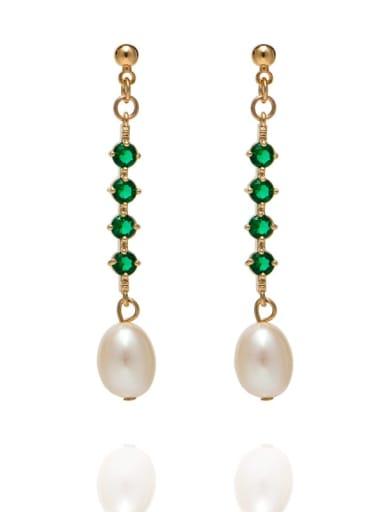 Brass Freshwater Pearl Geometric Minimalist Long Drop Earring