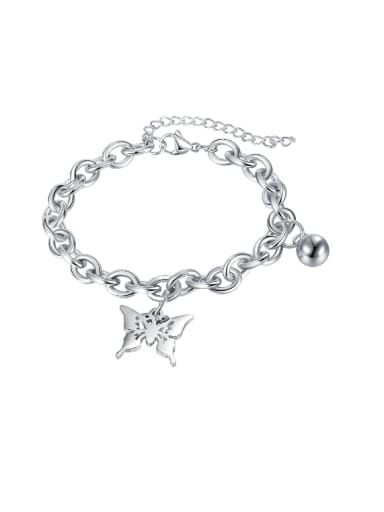 Titanium Steel Butterfly Hip Hop Hollow  Geometric  Chain  Bracelet