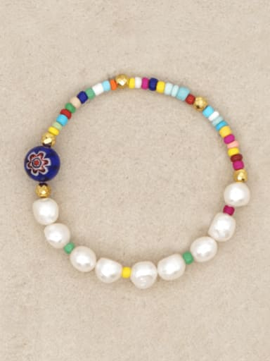 ZZ B200131B Stainless steel Freshwater Pearl Multi Color Round Minimalist Stretch Bracelet