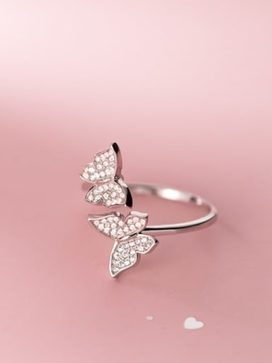 925 Sterling Silver Cubic Zirconia Butterfly Dainty Band Ring