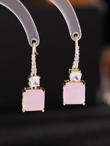 Pink Zirconium Brass Cubic Zirconia Geometric Bohemia Drop Earring