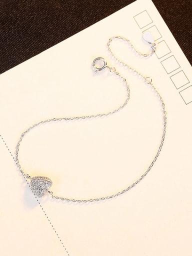 Rh 12C10 925 Sterling Silver Rhinestone Heart Minimalist Link Bracelet