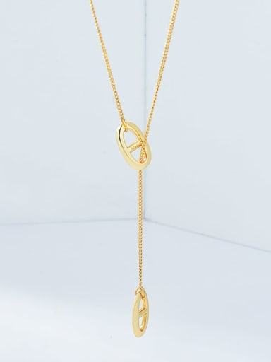 18K Gold 925 Sterling Silver Hollow Geometric Minimalist Lariat Necklace