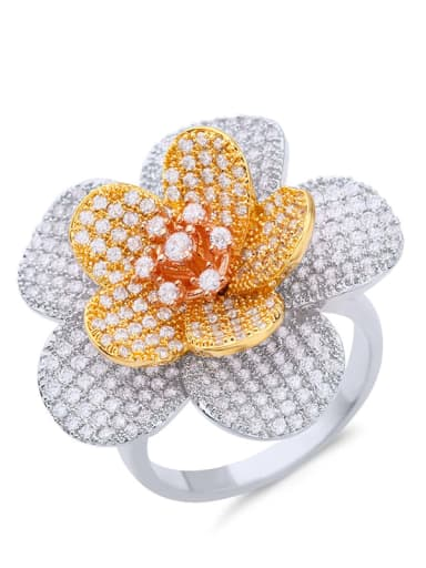 steel Brass Cubic Zirconia Flower Statement Cocktail Ring