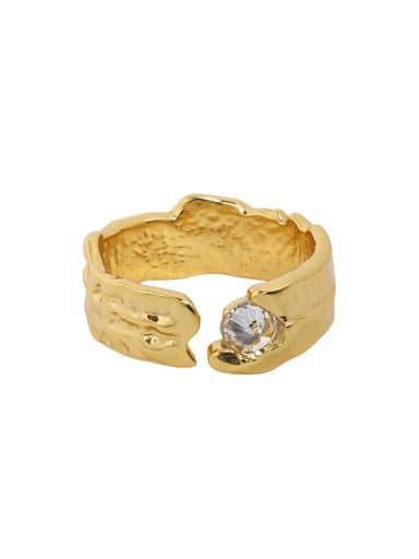 Dark  golden [white stone] 925 Sterling Silver Cubic Zirconia Irregular Vintage Band Ring