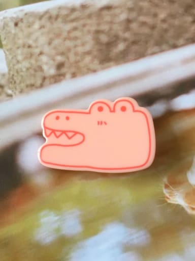 Pink crocodile Alloy Cellulose Acetate Cute Animal Frog  Hair Barrette