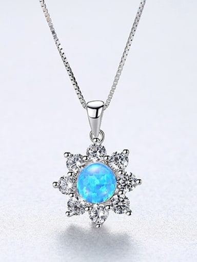 Blue 20F07 925 Sterling Silver Simple Opal Inlaid Zircon Sun Flower  Necklace