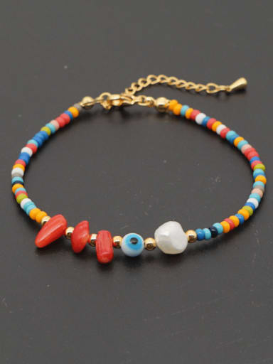 ZZ A200005B Stainless steel  Irregular Bohemia  Bead Multi Color Anklet