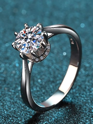 Sterling Silver Moissanite White Round  Engagement Rings