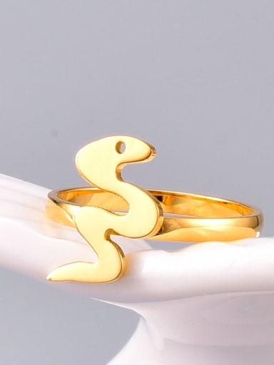 Titanium Steel Rhinestone Snake Minimalist Midi Ring