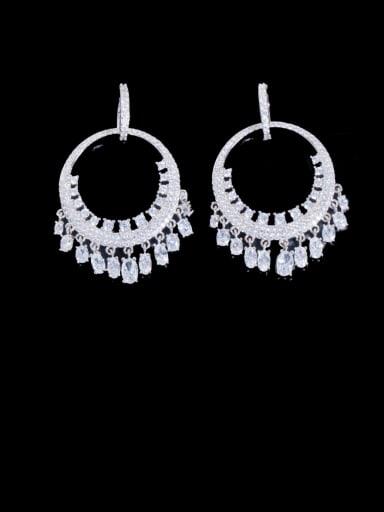 white Brass Cubic Zirconia Irregular Luxury Cluster Earring