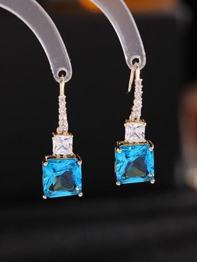 Blue zirconium Brass Cubic Zirconia Geometric Bohemia Drop Earring