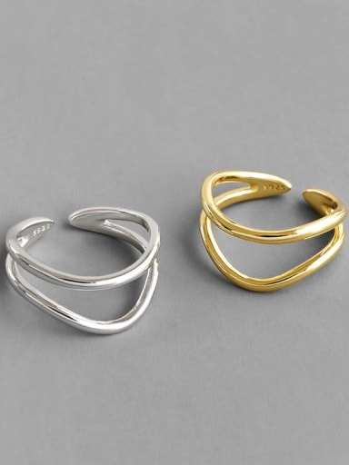 925 Sterling Silver Minimalist Double line smooth free size ring