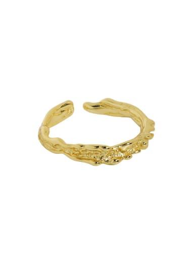 18K gold [No. 12 Adjustable] 925 Sterling Silver Irregular Vintage Band Ring