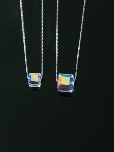 925 Sterling Silver Crystal Square Minimalist Necklace