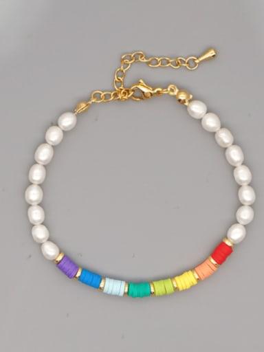 ZZ B200190C Stainless steel Freshwater Pearl Round Minimalist Beaded Bracelet