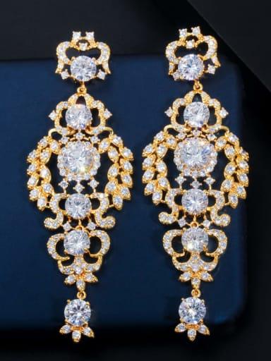 gold Brass Cubic Zirconia Flower Luxury Cluster Earring