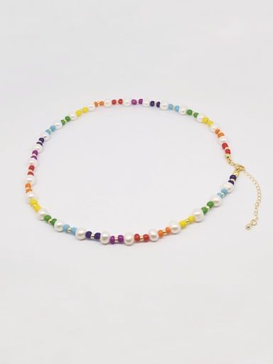 Freshwater Pearl Multi Color Miyuki beads Bohemia Necklace