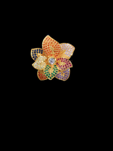 gold Copper With Cubic Zirconia Fashion Flower Statement Free Size Rings