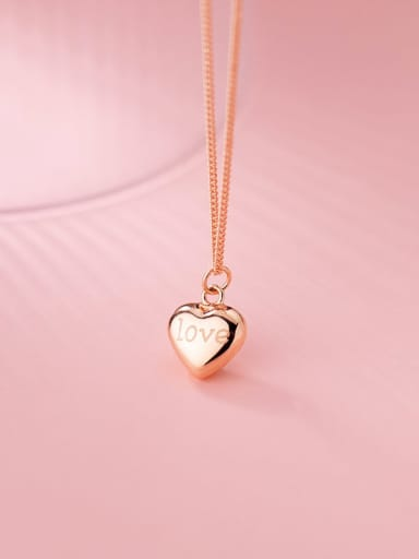 rose gold 925 Sterling Silver Smooth Heart Minimalist Necklace