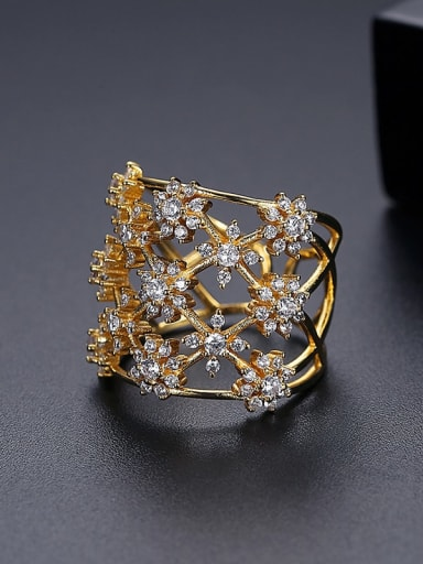 18k T18I12 Copper Cubic Zirconia Flower Luxury Band Ring