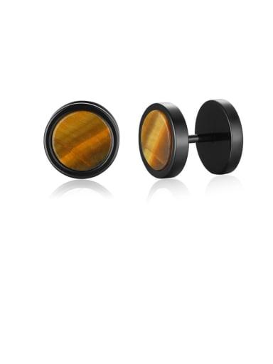 Tigereye Titanium Steel Turquoise Geometric Hip Hop Stud Earring