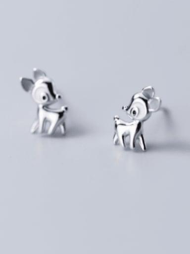 925 Sterling Silver Deer Cute Stud Earring