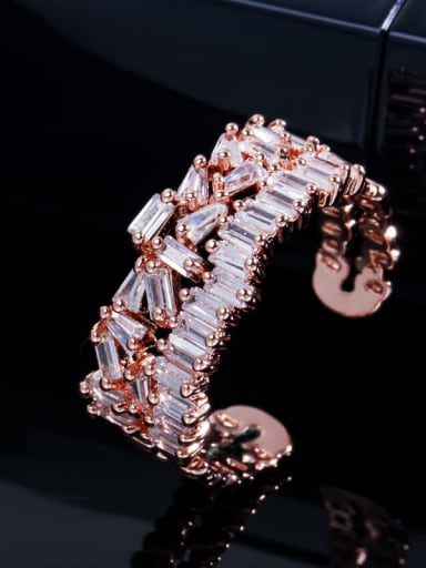 rose gold Copper Cubic Zirconia Geometric Luxury Cocktail Ring