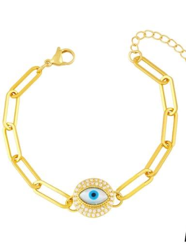 Brass Cubic Zirconia Enamel Evil Eye Vintage Link Bracelet