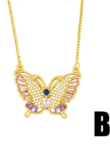 Section B Copper Cubic Zirconia Butterfly Vintage pendant Necklace