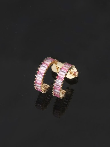 Color mixing Brass Cubic Zirconia Geometric Dainty Stud Earring