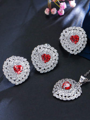 Red ring size 7 Brass Cubic Zirconia Luxury Heart Earring Ring and Necklace Set