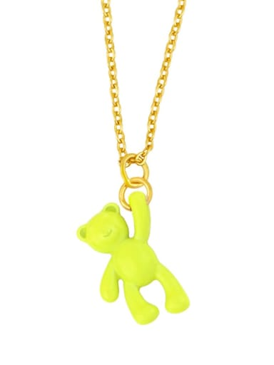 yellow Brass Multi Color Enamel  Cute Bear Pendant Necklace