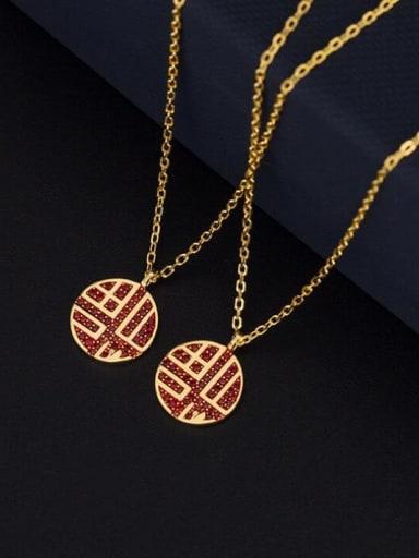 "Titanium with China characters ""FU"" Rhinestone Initials Necklace"