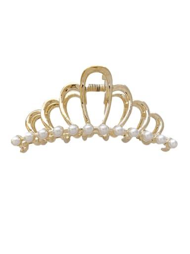 Crown Rhinestone 9.3cm Alloy Imitation Pearl Minimalist Crown Jaw Hair Claw