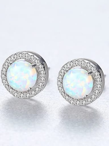 White 18H04 925 Sterling Silver Opal Round Minimalist Stud Earring
