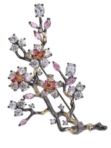 Gun black Brass Cubic Zirconia Flower Ethnic Brooch