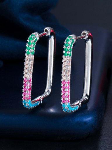 Platinum color zirconium Brass Cubic Zirconia Geometric Luxury Huggie Earring