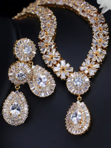 Champagne gold white zirconium Brass Cubic Zirconia Luxury Geometric Earring and Necklace Set