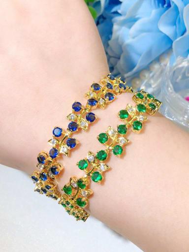 Copper Cubic Zirconia Leaf Luxury Bracelet