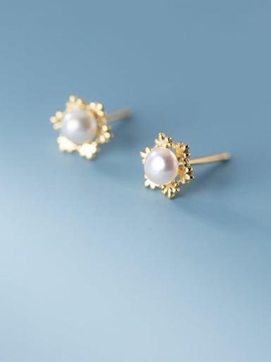 925 Sterling Silver Imitation Pearl Flower Minimalist Stud Earring