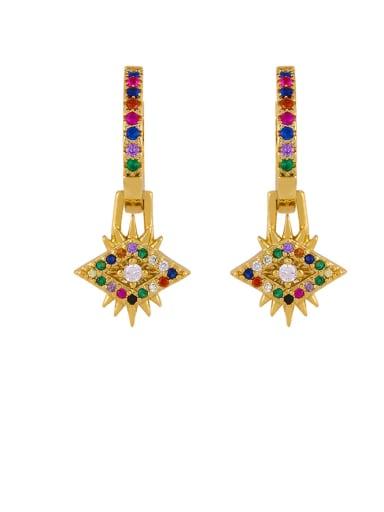 eye Brass Cubic Zirconia Crown Vintage Huggie Earring