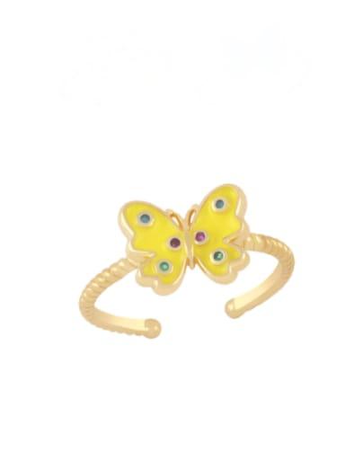 yellow Brass Enamel Butterfly Minimalist Band Ring