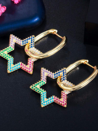 Gold color Brass Cubic Zirconia Geometric Luxury Cluster Earring